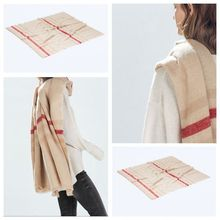 za 2016 Tartan Scarf Winter fashion Plaid Scarf Beige Women Cozy Checked Blanket Oversized Wrap Shawl Hot sale