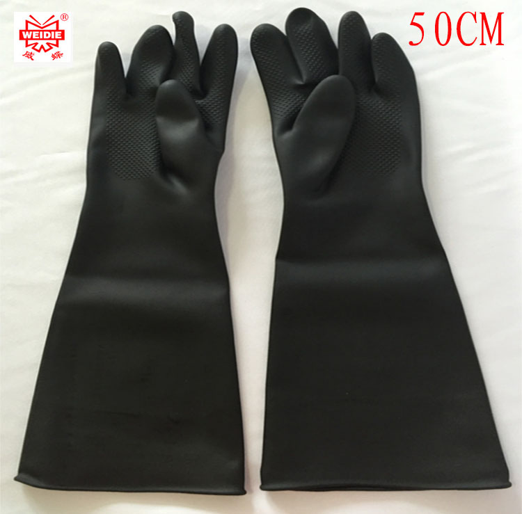 50CM high quality safety gloves working White / black waterproof work gloves Acid and alkali Oil resistant safety gloves working