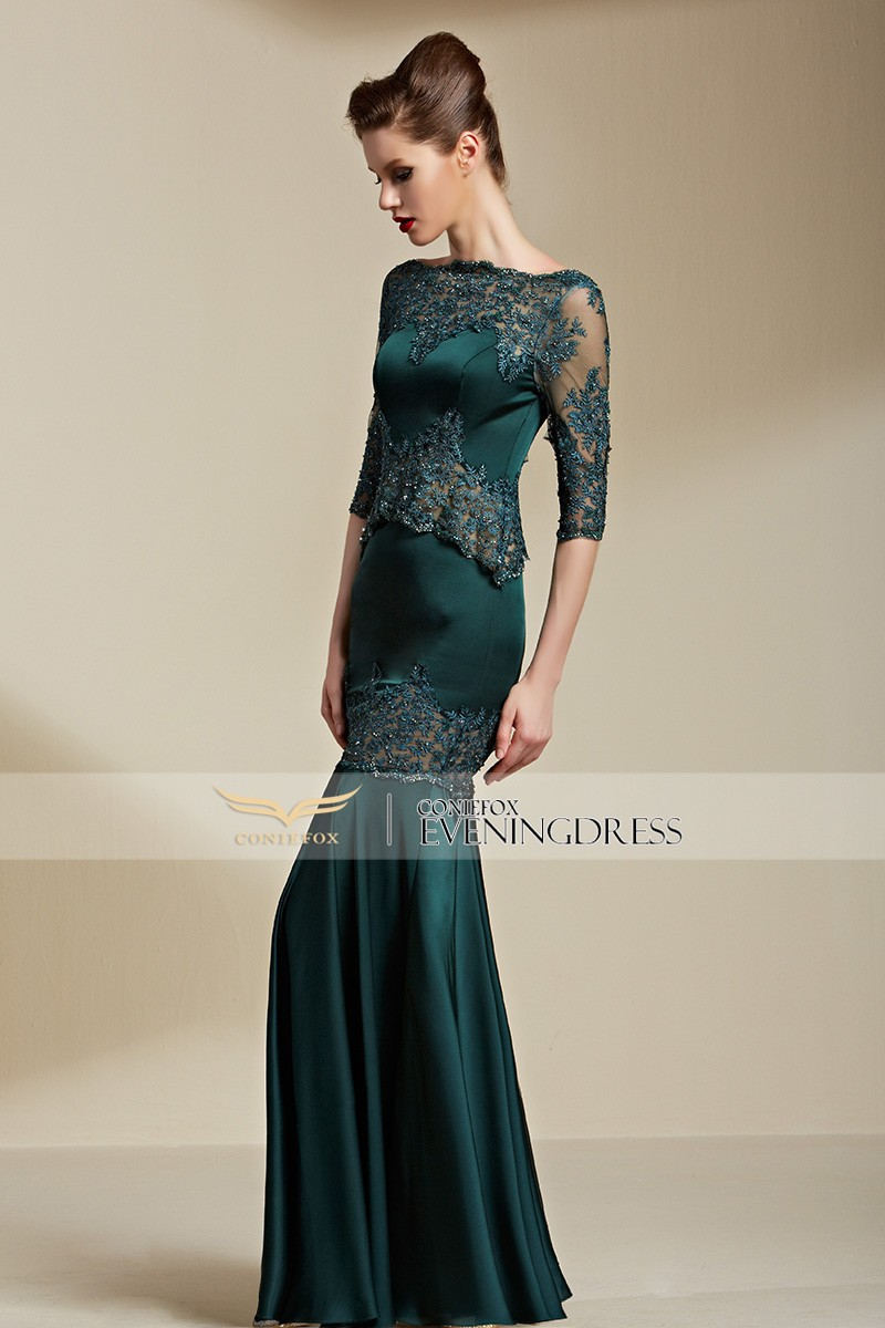 Coniefox 82111 Real Silk Satin Green See Through Lace Party Dress ...
