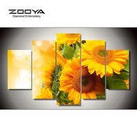NEW Sunflower Triptych Diamond Embroidery Painting Rhinestones Mosaic 3D Picture Cross Stitch Pattern Home Decoration BJ255