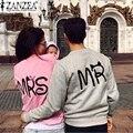 Zanzea 2017 moda outono casual manga comprida mr mrs carta impressão pullover hoodies casais amantes camisolas para homens e mulheres