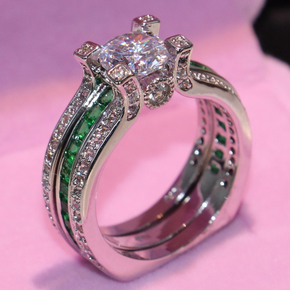 90 Discount Brand New Drop Shipping Fahsion Jewelry 925 Sterling Silver Round Cut White Green CZ