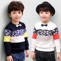 Primavera/Outono Meninos Laço Suor Tshirts Crianças Remendo Cores Tops Pullovers Roupa Dos Miúdos T1DT10
