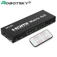 4 k * 2 k 3d 1080 p v1.4 hdmi matrix 4x2 với điều khiển từ xa 4 trong 2 out hdmi chuyển switcher splitter đối với xbox dvd ps3 ps4 chiếu