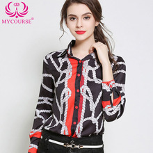 Print Polo Collar Shirts Lady Spring New Fashion Polyester Blouse Shirts Women Long Sleeve Button Up