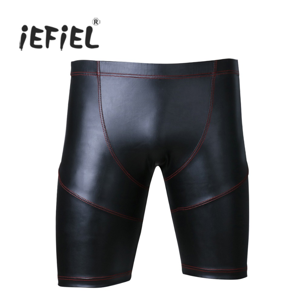 iEFiEL New Style Black Sexy Lingerie Men Faux Leather Shorts Workout Tights for Men's Outside Boxer Shorts Underwear Underpants