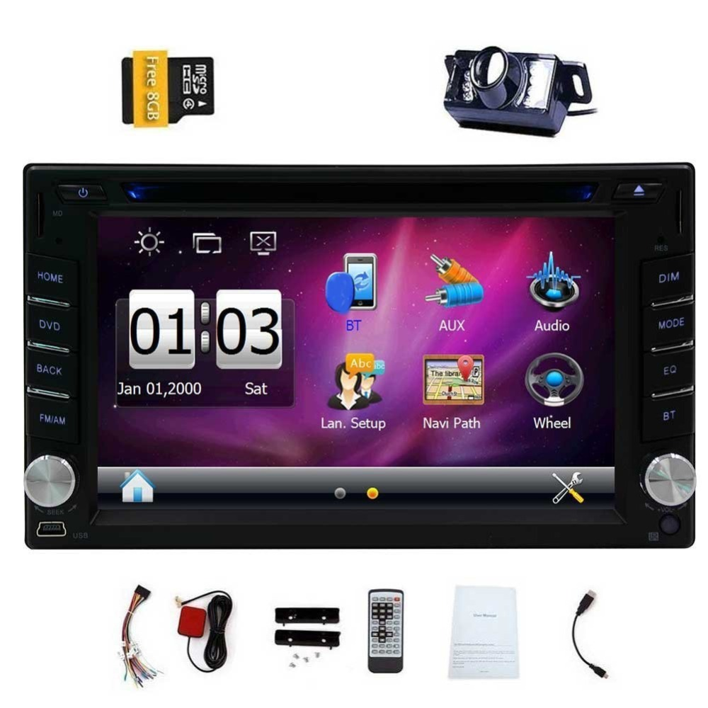 Electronic Double 2 Din Car DVD Player Auto Radio GPS In Dash Car PC Stereo  support steering wheel+Free two 2din gps Map camera-in Car Multimedia  Player ...