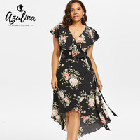 cd8d1de18b AZULINA Plus Size Shawl Collar Floral High Low Dress Women Dresses Summer  Short Sleeves Tie Belt Holiday Vacation Dress Vestidos