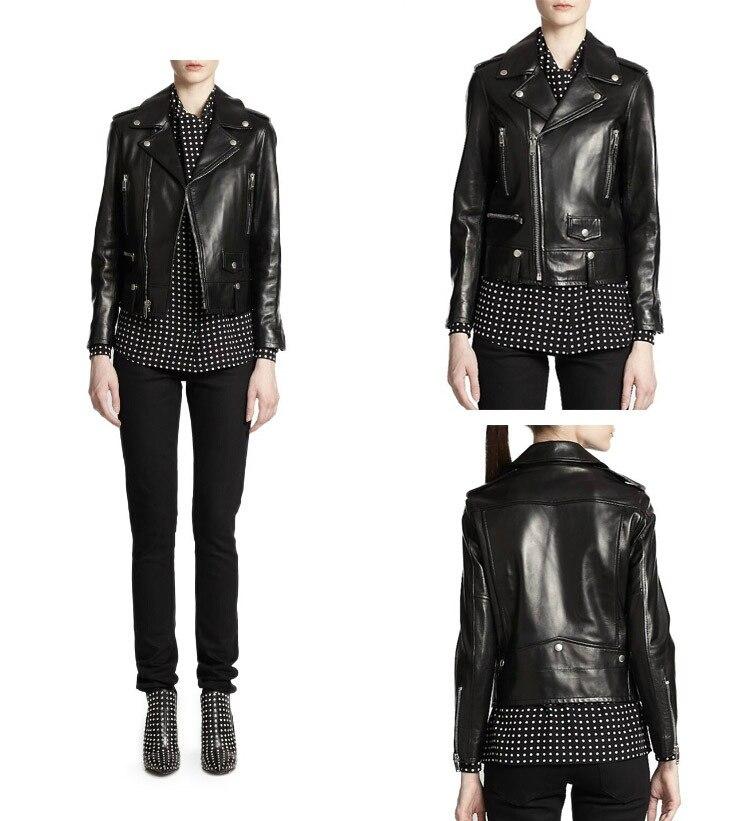 Livraison gratuite, Véritable en cuir femme vestes cintrées. mode motorbiker taille asie femelle veste en peau de mouton, grande taille manteau en cuir - 3