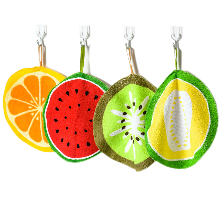 Microfiber Kitchen Towels Cartoon Fruit Hanging Cleaning Cloth Wipe Dishcloth Hand Towel For Children Scouring Pad Printing Rag
