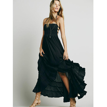 Black Crinkly Maxi Dress