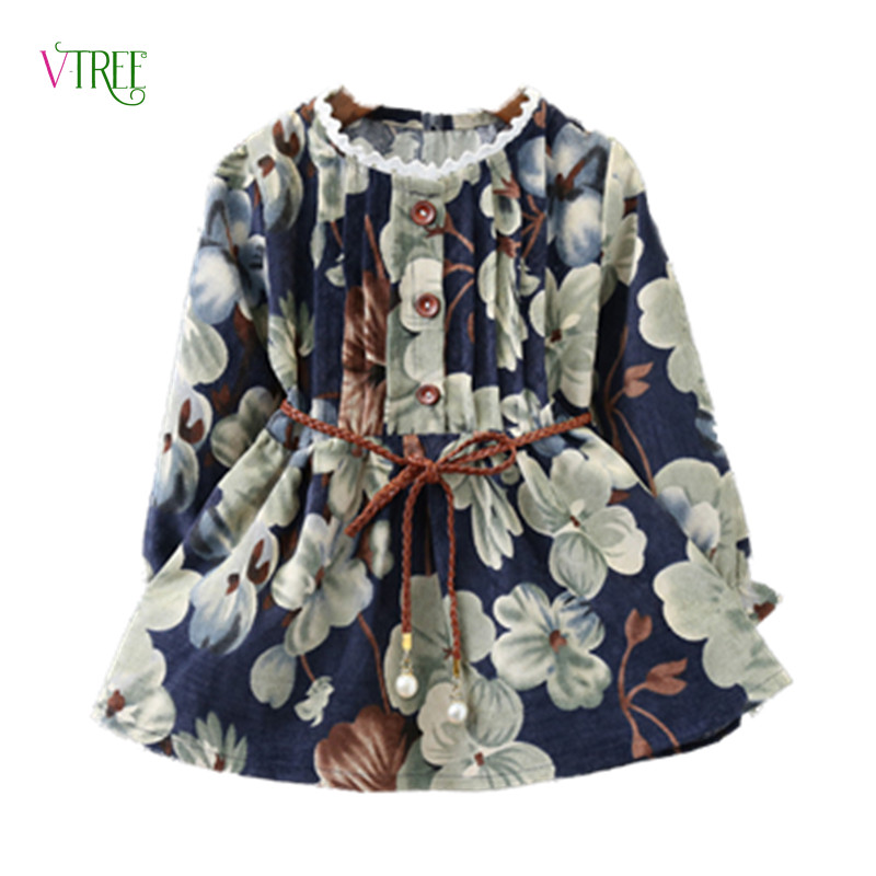 где купить NEW Baby Girls Dress Long Sleeve Flower Dress For Girl Kids Party Princess Dress Spring Autumn Children Dress Girls Clothes 2-7Y дешево