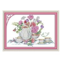 Joysunday китайский вышивка крестиком DIY Розовый цветок Настольный dmc14ct11ctcotton рукоделие гостиная ресторан отеля живопись