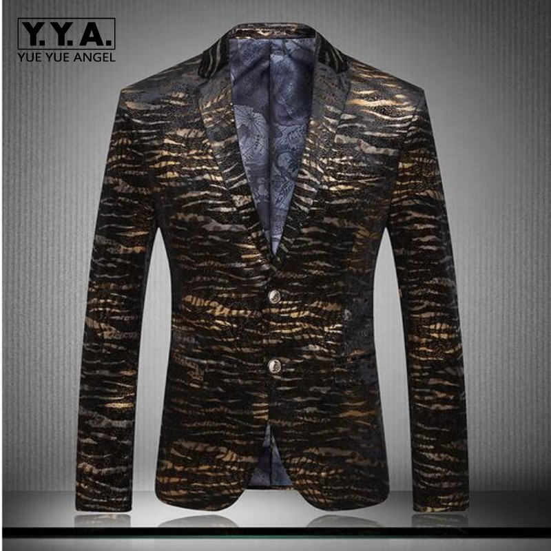 High Quality New Brand Fashion England Mens Luxury Britain Style Two Button Suits Gold Blazers Coat Spring Jacket Plus Size 3XL