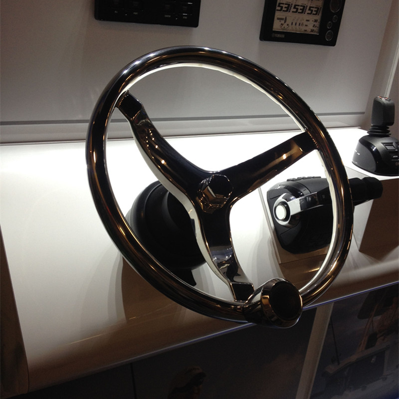 polished stainless steel steer wheel for marine boat yacht with
