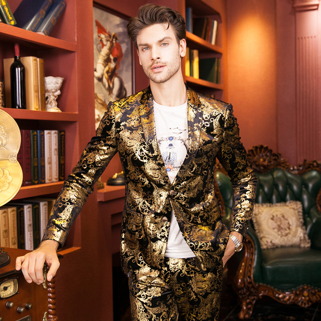 Gold Blazer For Men Stage Costumes For Singers Mens Embroidered Blazer Luxury Brand Mens Blazer Jacket Prom Wedding Dress Q51