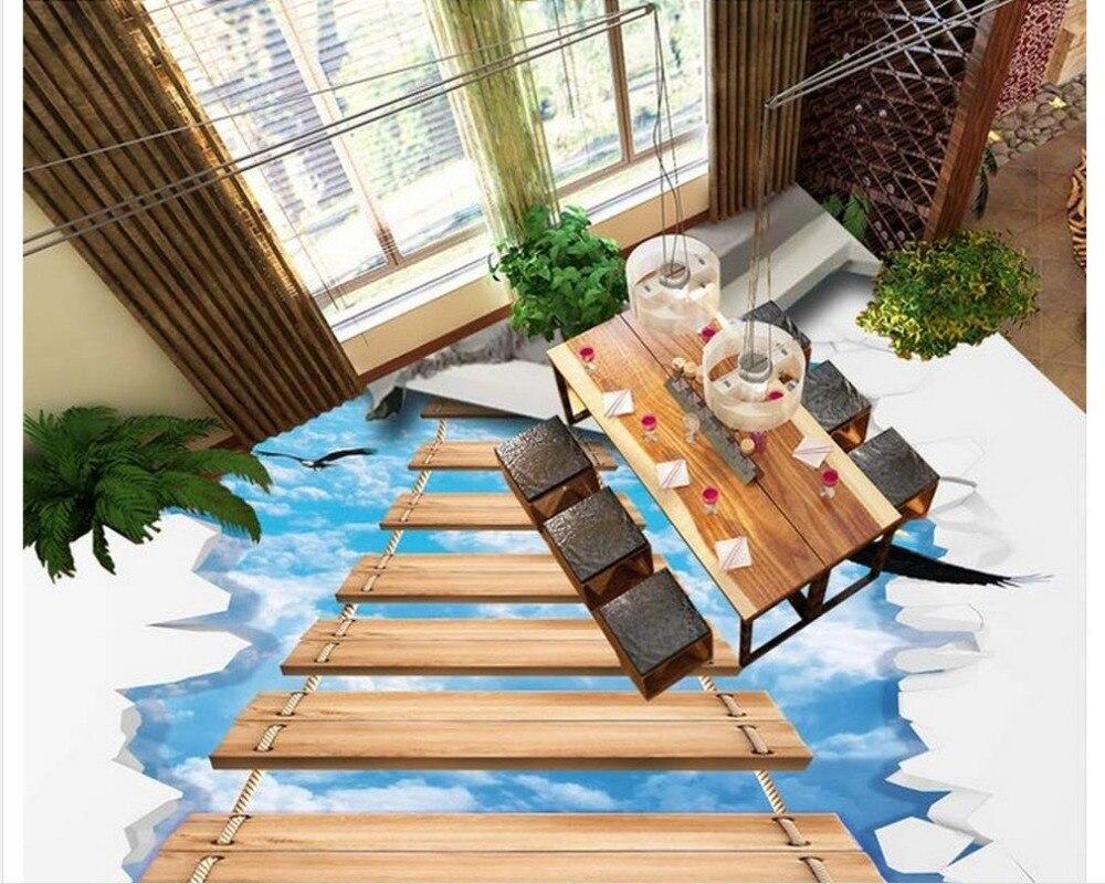 3d papier peint étanche pvc papier peint 3d ciel pont en bois 3D étage 3d papier peint pvc salle de bains papier peint étanche - 2