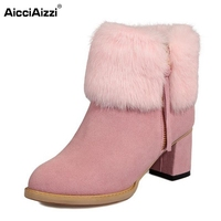 Winter Plush Real Leather Boots Thickened Fur Women Ankle Snow Boots Ladies Zipper Square High Heel