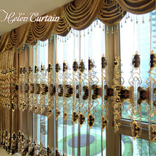 Helen Curtain European Embroidered Luxury Curtains Chenille Valance Curtains For Living Room Thick Embroidered Tulle HC22