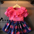 2016 Children Summer Girls Clothing Set Fashion Ruffles T shirt Cherry Skirts Clothes Suits PCs 2 Princess Twinset