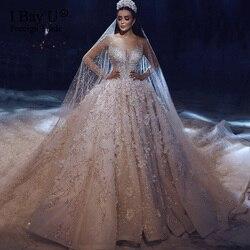 럭셔리 반짝 이는 크리스탈 웨딩 드레스 풀 슬리브 2020 레이스 아플리케를 통해 볼 푹신한 볼 가운 3d 꽃 신부 드레스