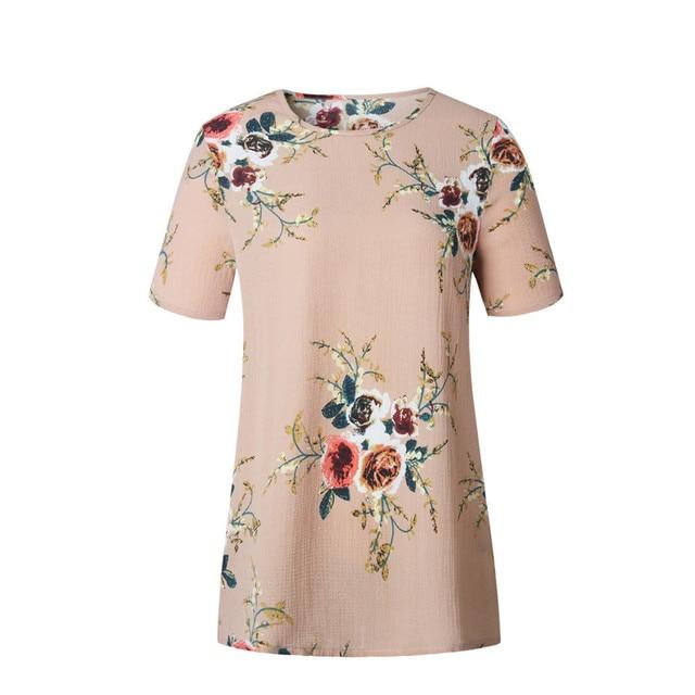 8e8c1711500426 Stijlvolle Vrouwen kleding bloemenprint Korte Mouw ronde hals Dames Shirts  Polyester Losse Zomer Casual Blouses een