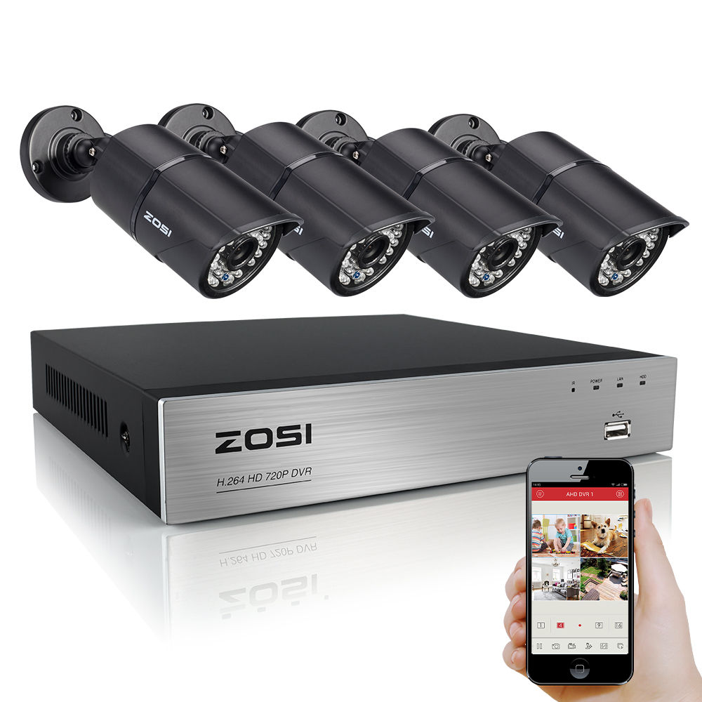 ZOSI 4CH HD AHD DVR 4pcs 720P 1280TVL AHD Outdoor Security Cameras 36 Leds Home Security