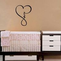 LOVE INFINITY HEART WALL DECAL LETTERING WORDS VINYL QUOTE DECOR STICKER BEDROOM DECORATION WALLPAPER Size 18x22inches