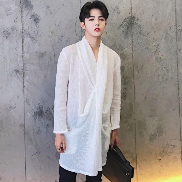 2017 Harajuku Brand Fashion Oversized Unique Designer Mens Shirt Casual Thin Extended Long Dress Linen Shirts Men White Black In From S