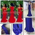2016 New Arrival Dubai Europe Mermaid Dress Royal Blue Prom Long Dress Deep V Neck Floor Length Women Red Gowns Robe De Soiree