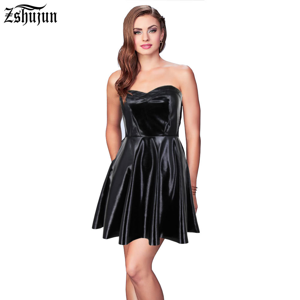 wholesale 2017 Women s sexy dress Wrapped chest Strapless Big swing PU leather Nightclub dress Mini
