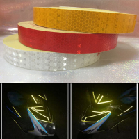 25mm X 25m Yellow Red White Reflective Tape Stickers Car Styling Self Adhesive Warning Tape