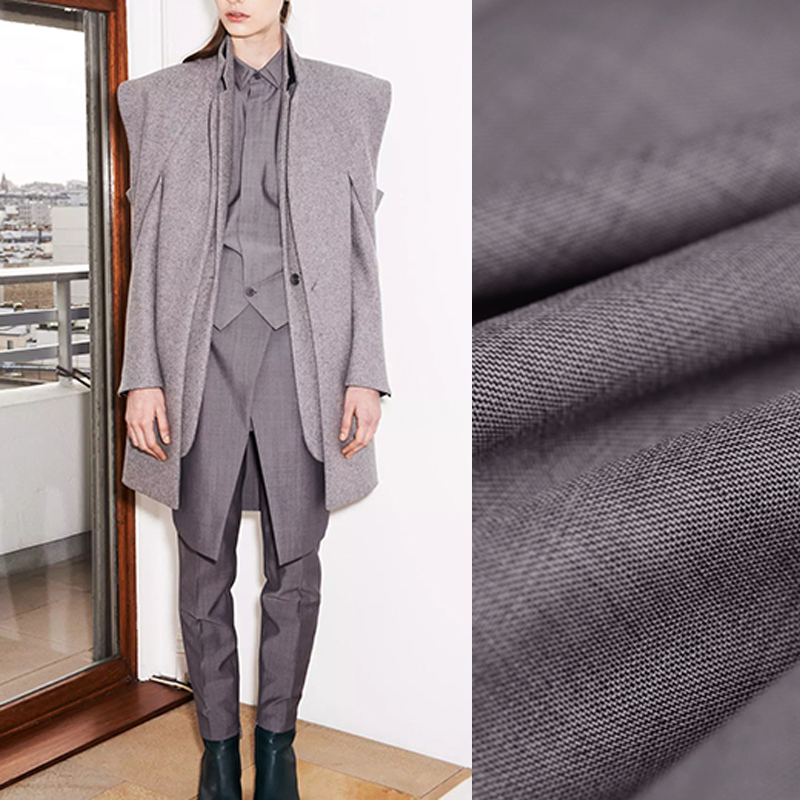 146CM Wide 260G/M Gray Thin Wool Silk Polyester Fabric for Spring and Autumn Suit Dress Outwear Overcoat Jacket DE978