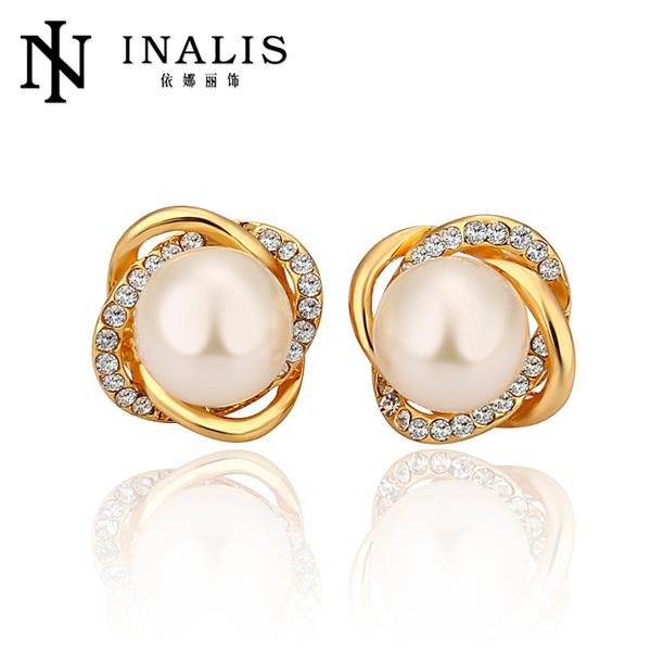 E871 Design Pearl Earrings Fashion Gold Plated Stud For Women Indian Jewelry Party Brincos Penntes Orni In From