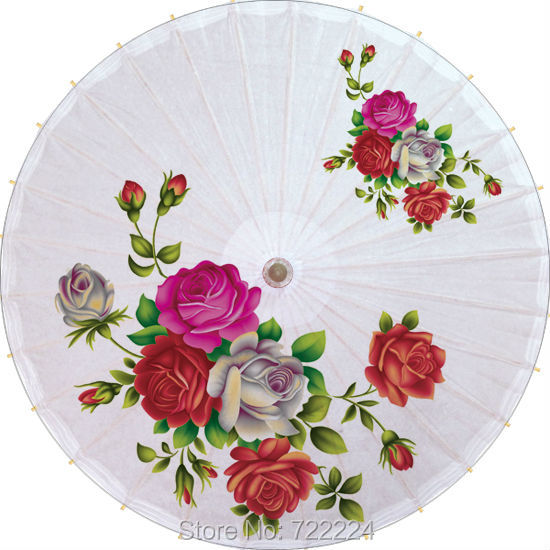Dia 84cm chinese craft handmade umbrella with colorful rose picture long-handle waterproof unique women oiled paper umbrella