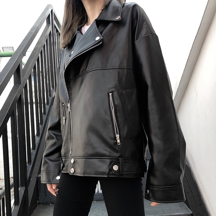 Oversize Women Pu Leather Black Jacket Winter Warm Punk Rock Biker Female Motocycle Jacket