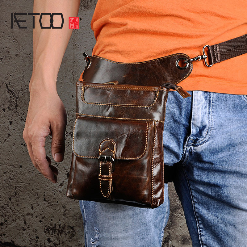 AETOO The first layer of oil wax leather leather section men men tide cool phone camera 8 inch leg bag pockets