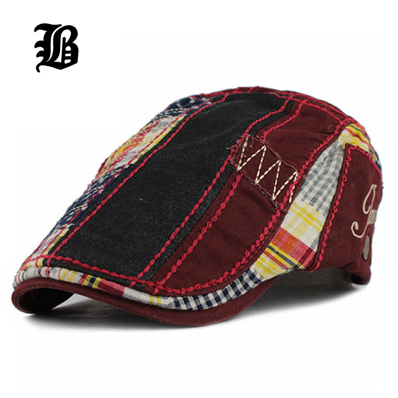 [FLB] Wholesale Patchwork Beret Hat Casquette Cotton Hats For Men And Women Fitted Visors Sun Hat Gorras Flat Caps Adjustable