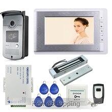 """ENVÍO LIBRE Con Conexión de Cable 7 """"TFT Videoportero de Intercomunicación Set + 1 de Acceso RFID puerta de La Cámara 1 Monitor + 180 kg Cerradura Magnética En Stock"""
