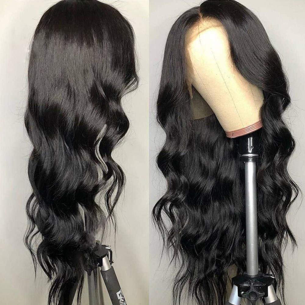 SimBeauty Unprocessed Virgin Peruvian Body Wave Human Hair Lace Front Wigs With Baby Hair 150% Density Pre Plucked Natural Hair
