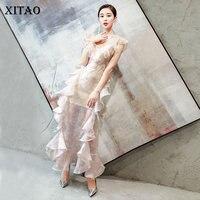 [XITAO] Korea Summer 2018 New Fashion Women Print Ruffles Ankle Length Dress Female Sleeveless V Neck Patchwork Dress KZH829