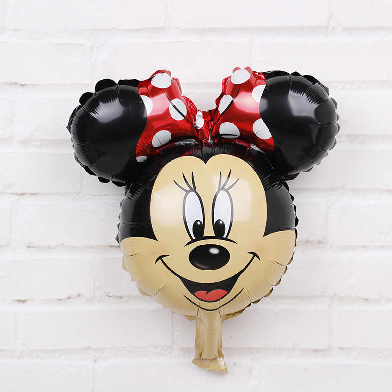 3pcs/lot 48*35cm Mini Mickey Minnie head foil balloons cartoon red bow Minnie mouse birthday party decorations kids lovely toys