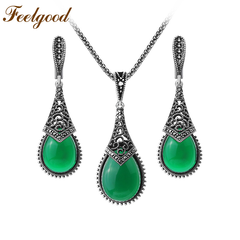 Feelgood Indian Style Vintage Silver Color Jewelry Sets Green Resin Water Drop Pendant Necklace And Earrings Set Women Gift 2018 free shipping 3 pp eyeliner liquid empty pipe pointed thin liquid eyeliner colour makeup tools lfrosted purple