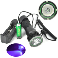 5W UV Waterproof Flashlight 18650 Scuba Diver Violet Light 1x 5050 LED Aluminum Flash Light 390nm Torch with Battery Charger