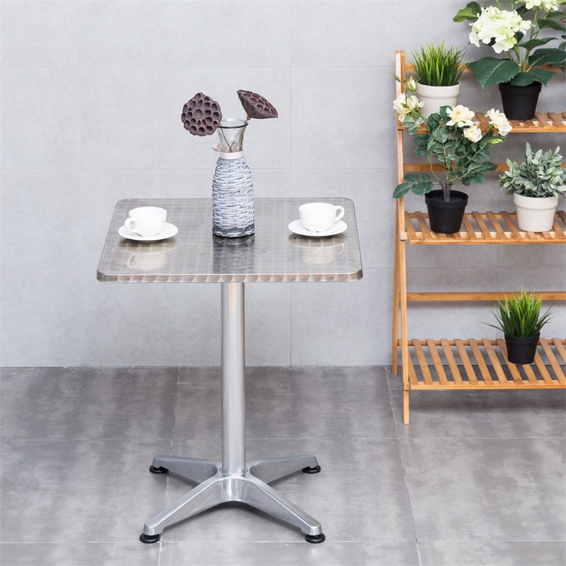 "23 1/2"" Stainless Steel Aluminium Square Cafe Bistro Table Lightweight Build Smooth Stainless Steel Table Top  Easy To Clean"