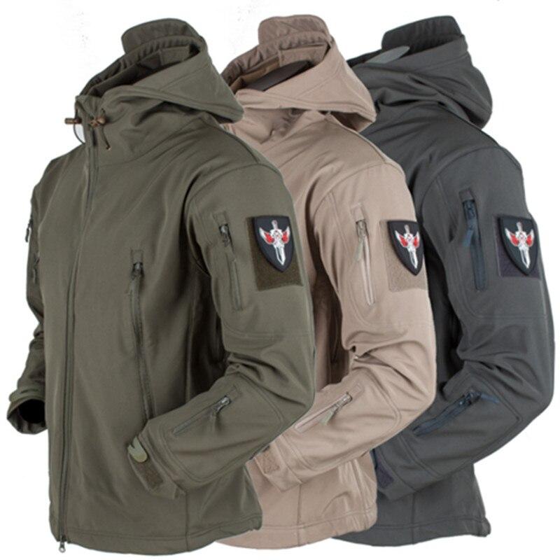 Военная тактическая куртка из мягкой кожи акулы, Мужская водонепроницаемая походная куртка, штаны для кемпинга, камуфляжная армейская каму