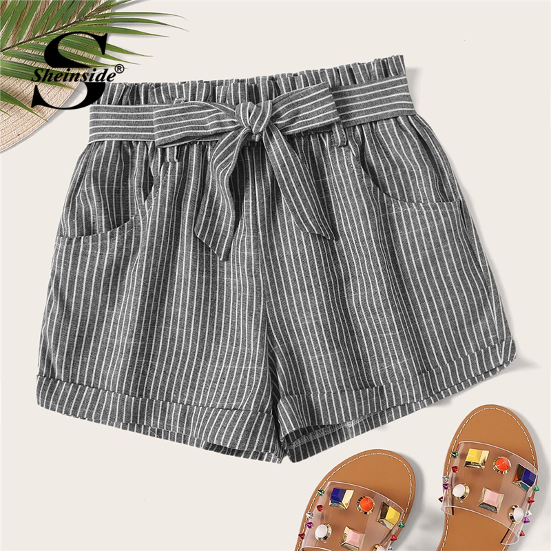 Sheinside Striped Self Tie   Shorts   Summer Mid Waist Casual   Shorts   Women Elastic Waist Office Ladies Elegant Belted   Shorts