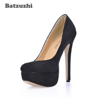 Batzuzhi בעבודת יד הבוהן סביב נעלי נשים סקסיות נעליים עקב גבוה פלטפורמת 14 ס
