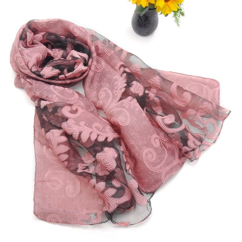 2018 New Eugen Silk Embroidery Floral   Scarves   Women's   Scarf   Summer Lace   Wrap   Poncho Winter Shawls For Euro Free Shipping