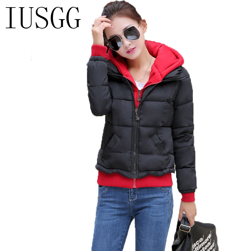 ФОТО IUSGG Winter Coat Slim Ladies Jackets Parkas Hooded Collar Women Outwear Female Jacket Patchwork Cotton-padded Women's Clothing